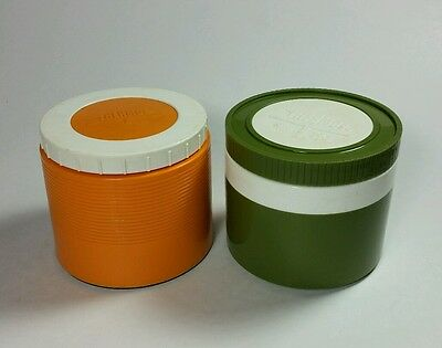 Thermos Plastic Insulated Jars King Seeley Model #1155 & 1155/3 6oz 2 Vintage