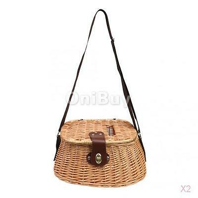 2x Wicker Fish Basket Fishing Creel Trout Perch Cage Tackle Box Home Decoration