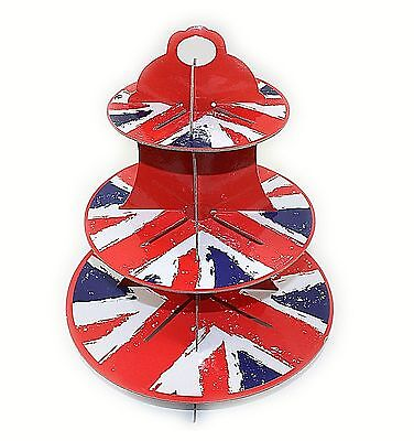 Bnwt 3 Tier Cupcake Stand Union Jack Design Party Display Cake Shop Events