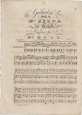 HOOK JAMES Spartito Musica THE GARLAND OF LOVE TEKELI Canto Piano Bland 1815ca