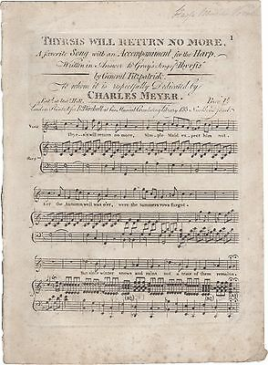 MEYER CHARLES Spartito Musica THYRSIS WILL RETURN NO MORE SONG Arpa Canto 1810ca