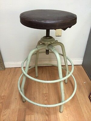 Vintage Industrial Metal Stool Aluminum w/ Adjustable High mid-century modern