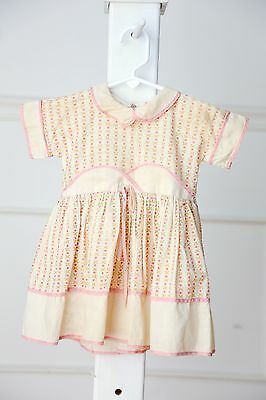 Vintage baby girl pink and ivory cotton dress - size 12 months
