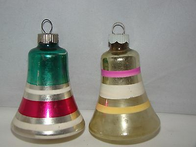 Vintage Shiny Brite Blown Glass Stripes Bell Christmas Ornament Lot of 2