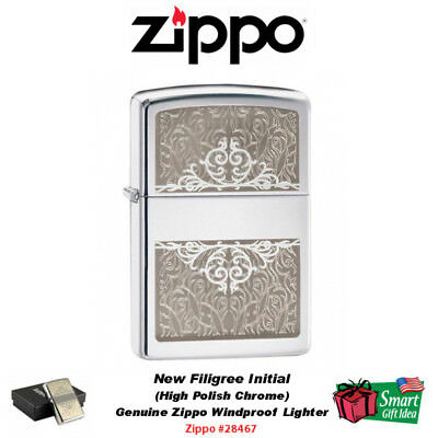 Zippo New Filigree Initial Lighter, High Polish Chrome, Genuine Windproof #28467