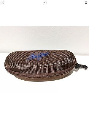 Maui Jim Sport Glasses Sunglasses Brown Zipper Clam Shell Hard Case With Clip