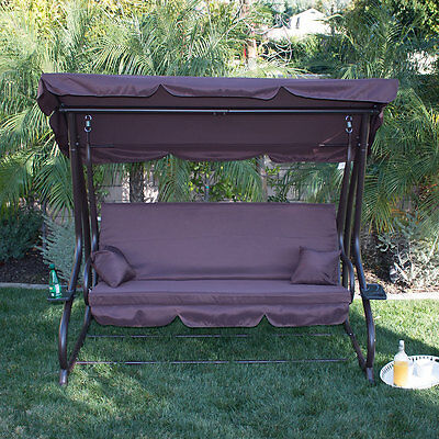 Outdoor Porch Swing Bed Patio Deck Seat Furniture Brown Chair + Cup Holder Bench
