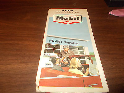 1965 Mobil IOWA Vintage Road Map