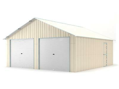 Double Garage 6.4m x 7.2m Widespan Cream Garages Steel NEW