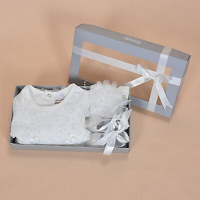 Cinda Baby Ivory 3 piece Christening Gift Box Set Dress Headband Shoes 3-6 Month