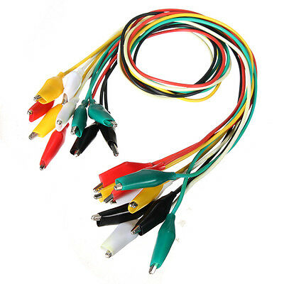 10pcs 50cm Double-ended Clips Cable Alligator Testing Probe Lead Wire