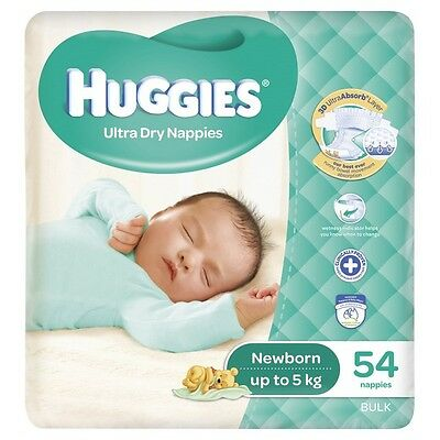 Huggies Nappies Newborn Unisex Up To 5kg Bulk 54 NEW
