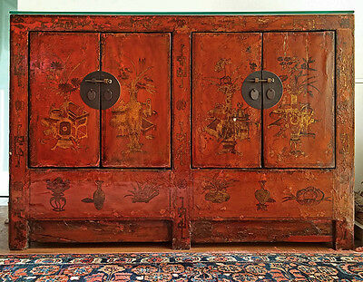 Antique Chinese Gilt & Red Lacquer Cabinet/Sideboard  With Glass Top