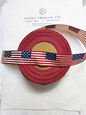 Vintage Antique Silk/Cotton GAR Flag Ribbon Military Medals Quilting 1 1/4""