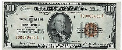 1929 $100 National Currency of Minneapolis F1890 UNC