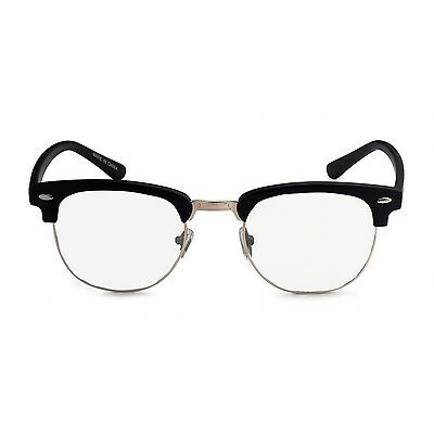 Vintage 80s Clubmaster Clear Lens black and Silver Hipster Nerd Glasses