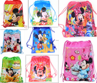 Mickey Mouse Minnie Drawstring Backpack Girl's School Sling Tote Gym Bag