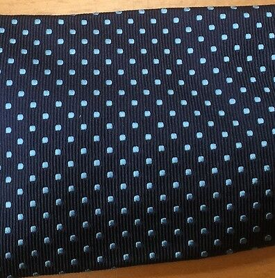 Cravats of London Navy with Pale Blue Embroidered Spots Adults All Silk