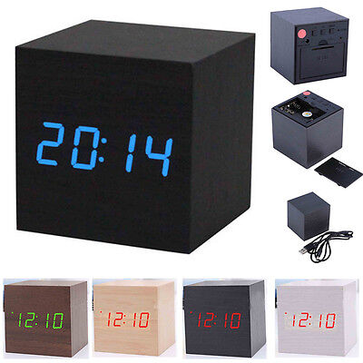Cube Wooden Digital Backlight LED Voice Table Alarm Clock Snooze Thermometer