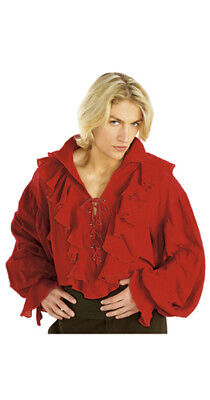 Red Linen Pirate Shirt for Adult Halloween Costume