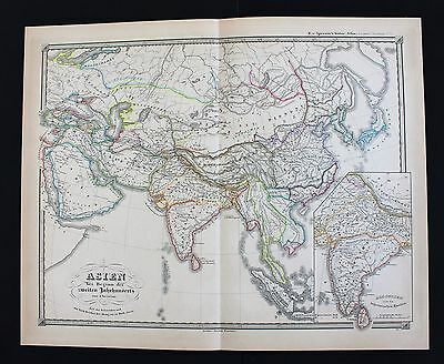 1855 Asia 2nd Century Map Han Empire India Mongolia Spruner ORIGINAL RARE