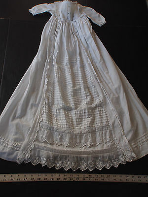 Antique Victorian LONG TRAIN Hand Embroidery Ayrshire Christening Baby Doll Gown