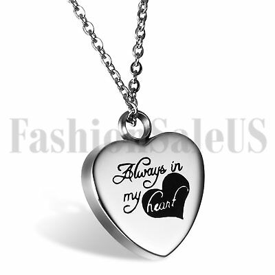 "Stainless Steel ""always in my heart"" Silver Chain with Love Heart Charm Necklace"