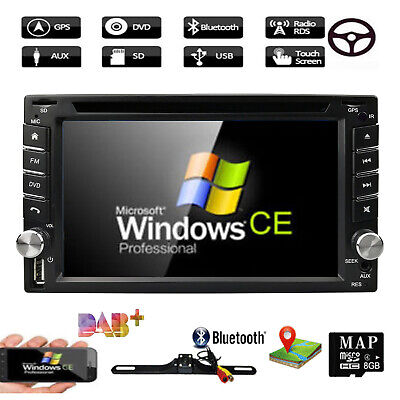"""6.2"""" HD 2 DIN GPS Navigation In Dash Car Stereo DVD Player Bluetooth Map+Camera"""