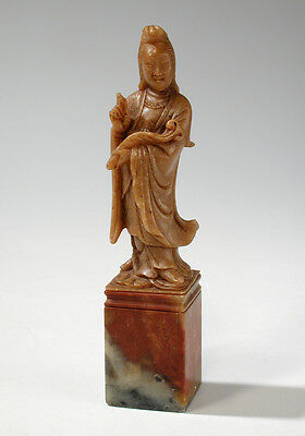 Vintage Chinese Carved Shoushan or Soapstone Seal Kwan Yin Guanyin Figurine 5""