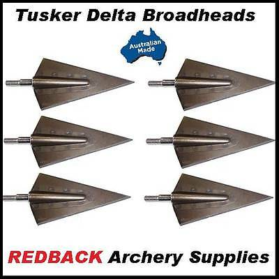 Tusker DELTA Screw in 190grn Broadheads for Hunting Arrows 6 Pack