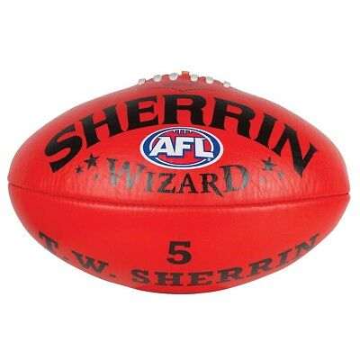 Sherrin AFL Wizard Leather Football Red full size 5 - Aussie Rules Football