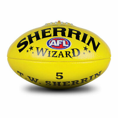 Sherrin Wizard Leather Football Yellow full size 5