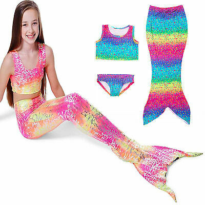 Girls Kids Mermaid Tail Swimmable Bikini Set Swimwear Fin Fun Summer Costumes