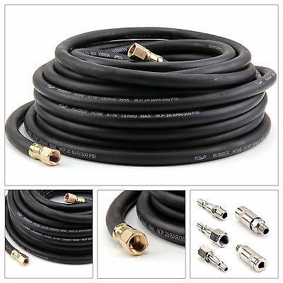 """50FT Air Compressor Hose Metre1/4""""BSP 8mm Bore With Quick Fittings Connector Kit"""