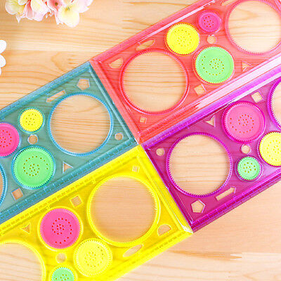 Transparent Plastic ruler Flower Drawing Rectangle Shape Circle Template Ruler