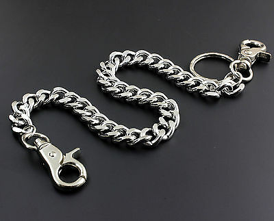 Metal Silver Color Wallet Long Chain Biker Hip Hop Anti Chief Solid Key Chain