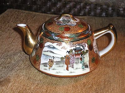 +Beautiful Antique Japanese Kutani Hand Painted Geisha Teapot w/Gilding Signed