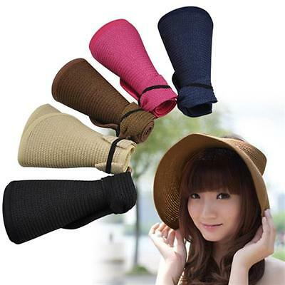 Women Foldable Floppy Straw Roll up Wide Brim Bowknot Hat Sun Cap Beach Visor UK