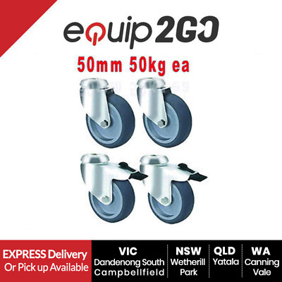 4 x 50mm Industrial rubber grey Castors 2 swivel and 2 brake - 50kg capacity NSW