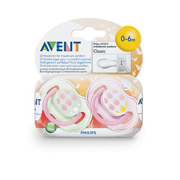 Avent Silicone Soother Fashion 0-6 Months BPA Free 2 Pack, Varied Designs NEW
