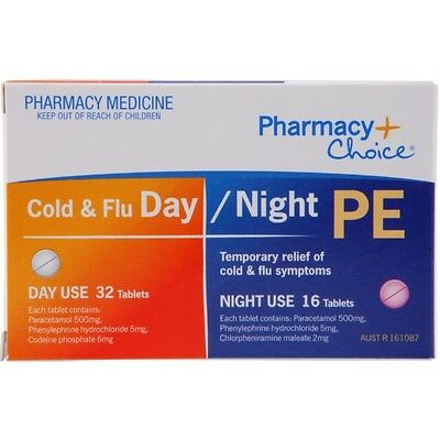 Pharmacy Choice Cold and Flu Day Night PE Tablets 48 NEW
