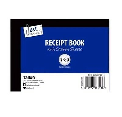 Half Size  Duplicate Receipt Book Numbered Cash 1-80 Pages - WH2 R3/4 116 - NEW