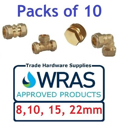 Brass Compression Fittings Plumbing Straight Elbow Tee Coupling Stop End x 10