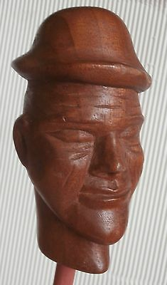 VINTAGE  WOOD  WOODEN  LARGE  CARVED  HEAD  signed   for doll puppet decor