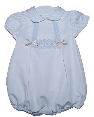 Boy Girl White Spanish Lace & Bow Romper Newborn 0-3 3-6 6-12 12-18 Month