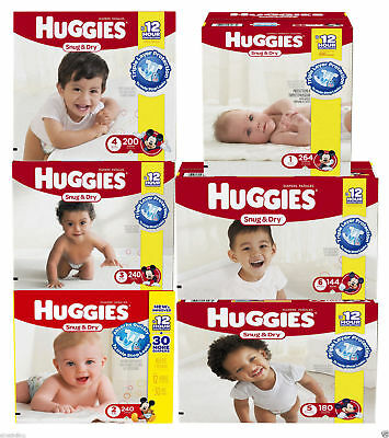 Huggies Snug & Dry Baby Diapers ALL SIZES NEWBORN - SIZE 6 CHEAP!!! $0 TAX!!!