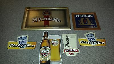 Beer Signs - Man Cave Decor Lot - MICHELOB, MILLER, FOSTER'S, AMSTEL, SMIRNOFF