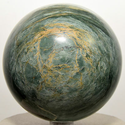 "3"" Green Apatite Sphere w/ Orange Calcite Natural Crystal Polished Stone - Peru"