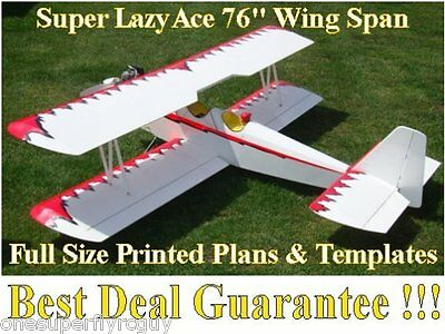 "Super Lazy Ace 96"" WS Giant Scale RC Airplane Full Size PRINTED Plans & Template"