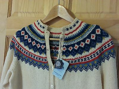 MINT Tag Vtg 50s/60s Husfliden Nordic Fair Isle Wool Cardigan Sweater Norway 40